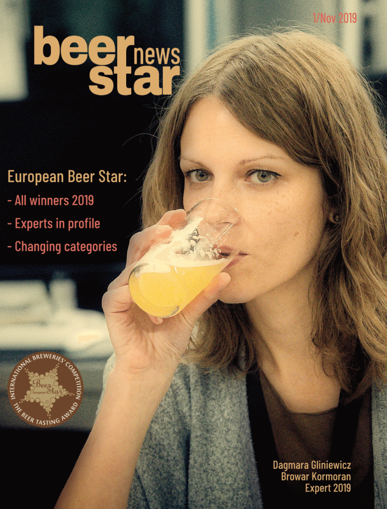 "Beer Star News, Cover. Left half of the picture: above the lettering ""Beer Star News"", below a short summary, at the end the logo. On the right a young lady, drinking beer."