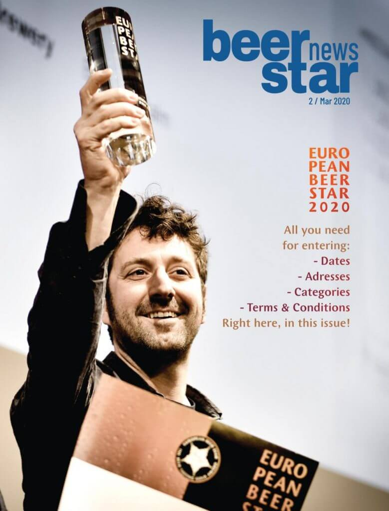 "Beer Star News, Cover. A man holding up a trophy. The lettering ""European Beer Star"" at the top right, below a summary of the contents of the magazine."